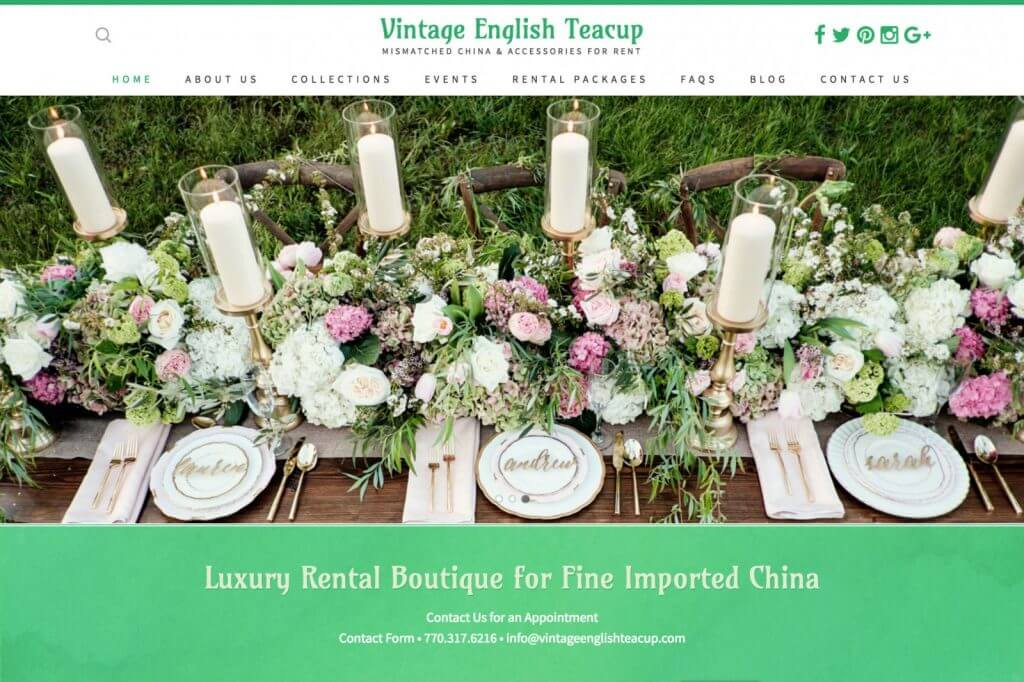 Vintage English Teacup - Mismatched China & Accessories Rental Website Design