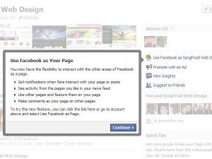 Use Facebook as a Page