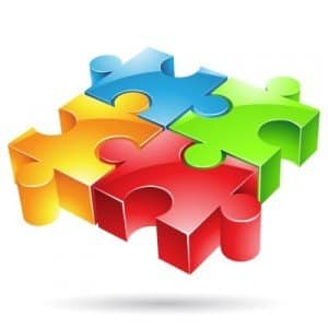 Four Puzzle Pieces representing the 4 Basic On-Page SEO Techniques