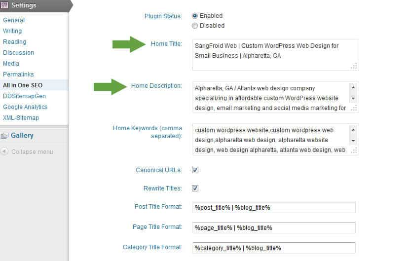 Screenshot of All in One SEO Pack Home Page Settings