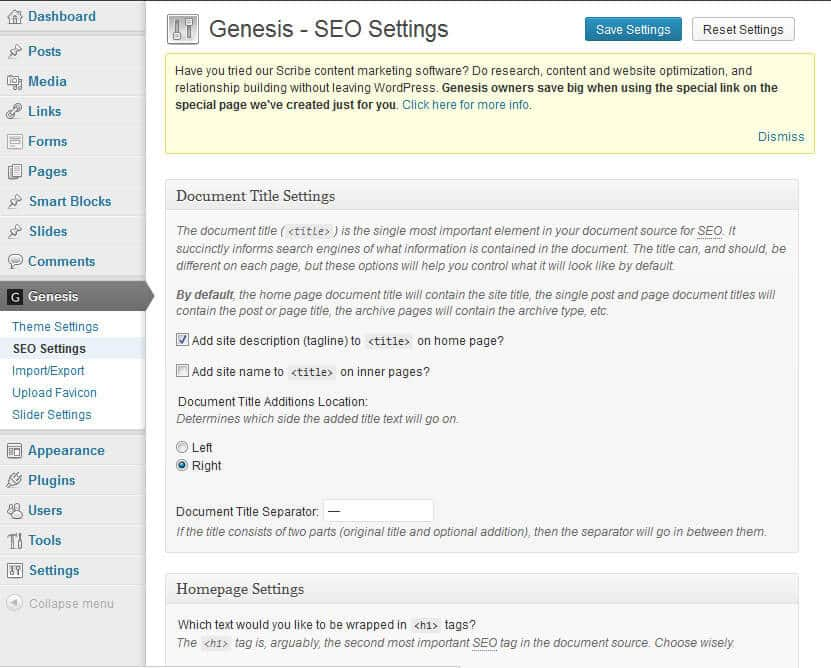 Screenshot of Genesis Home Page SEO Settings