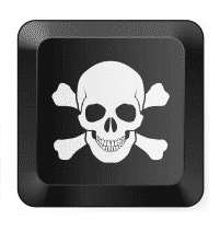 Skull and crossbones on a computer key representing stupid hackers.
