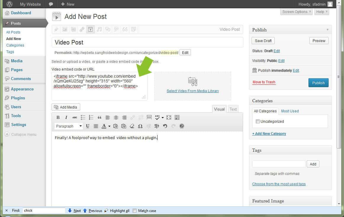 New Video Posts in WordPress 3.6