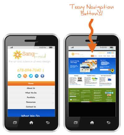 Navigation on Mobile Responsive site vs. Non Mobile Responsive