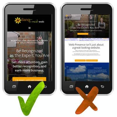 Mobile-friendly vs. non-mobile-friendly website example