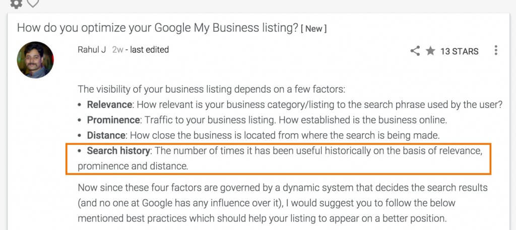 Google Local Search influenced by clicks - After Edit