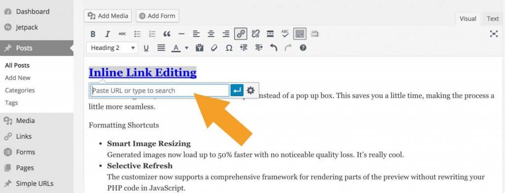 WordPress 4.5 - Inline Link Editing