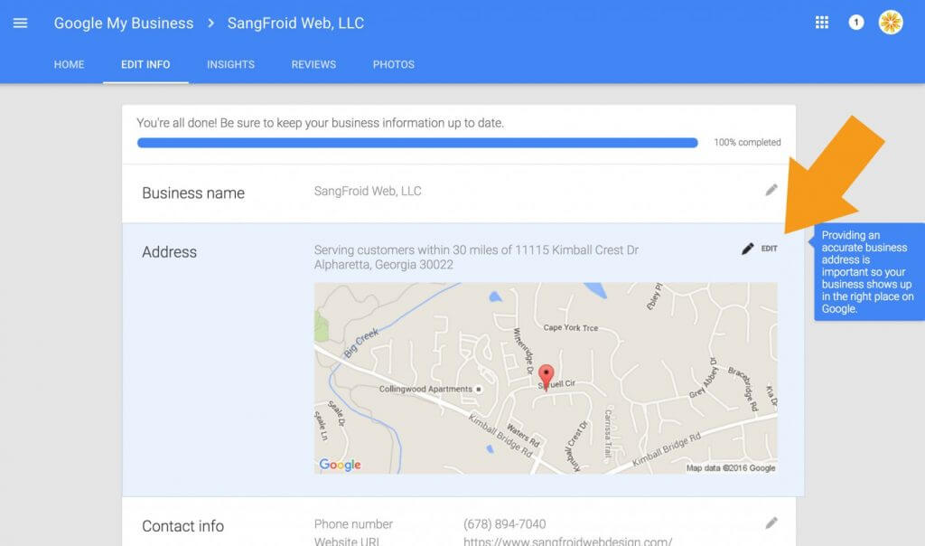 Edit the Address of Google Business Listing to Remove House Photo