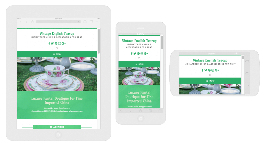 Vintage English Teacup Mobile Responsive Web Design Screenshots
