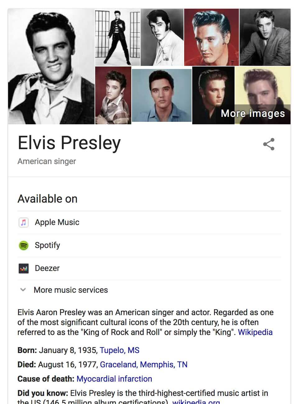 Google Knowledge Graph Info Box