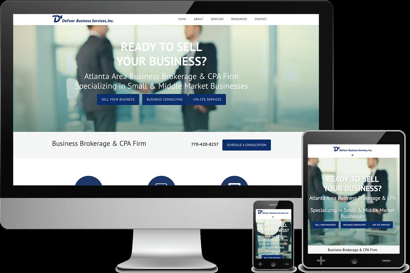 Defoor Services Mobile Responsive Web Design Screenshots