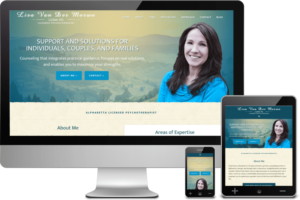 Alpharetta Web Design Project for Lisa Van Der Merwe, Licensed Psychotherapist