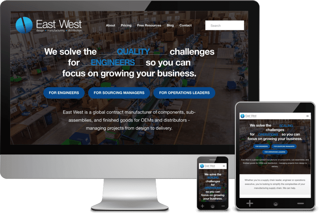 Atlanta Web Design Client - East West Manufacturing