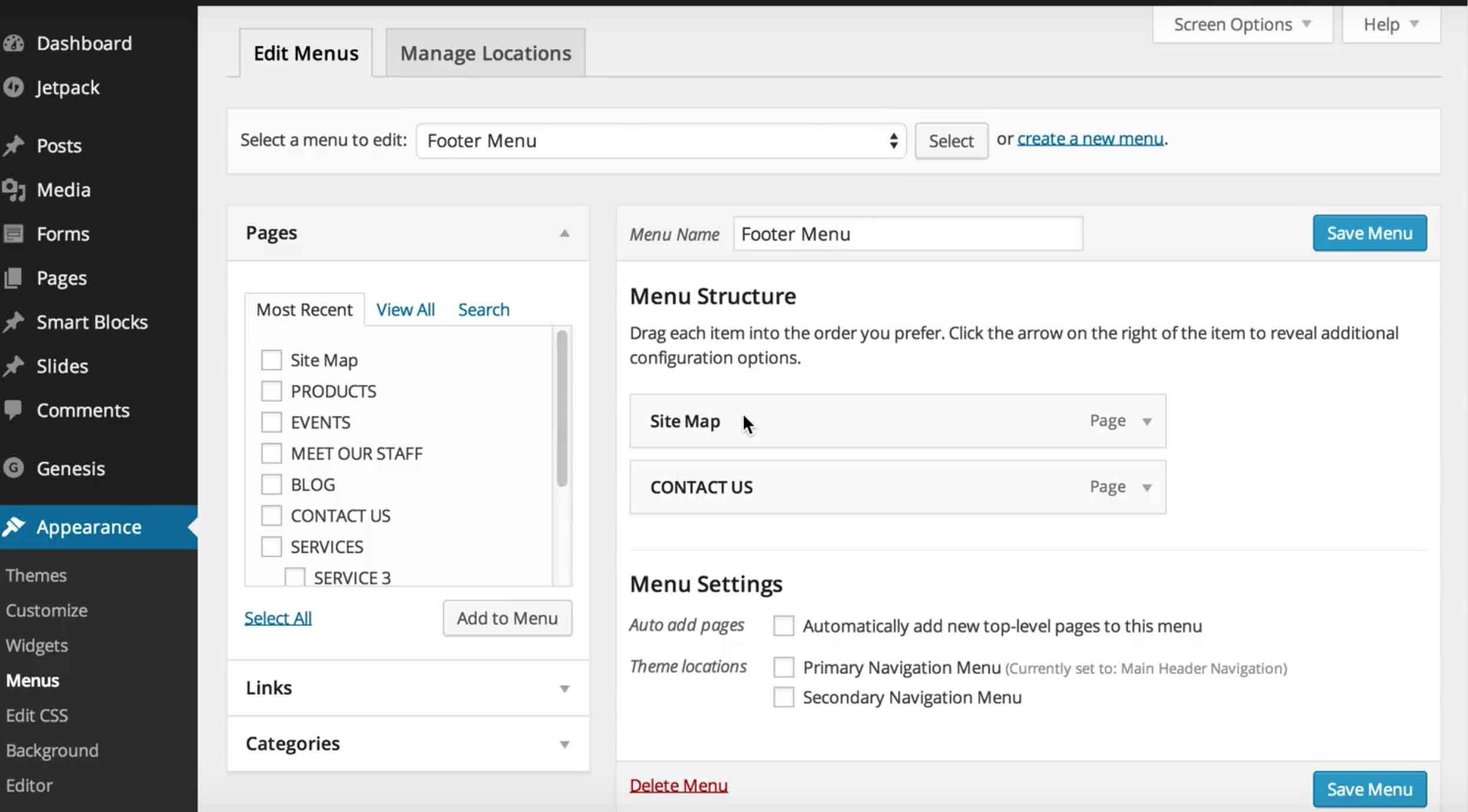 How do you change menu navigation in WordPress?