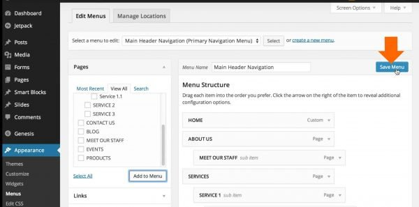 Step 4 - Click the 'Save Menu' button to save the menu items that you have added, edited or rearranged.
