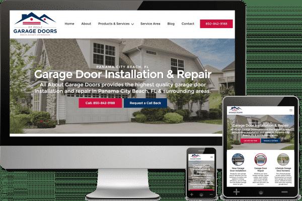 Panama City Beach Florida Web Design for All About Garage Doors, Inc.